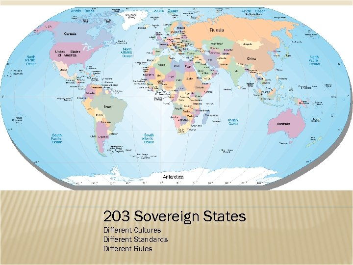 203 Sovereign States Different Cultures Different Standards Different Rules
