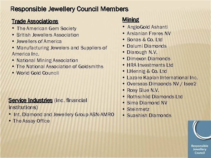 Responsible Jewellery Council Members Trade Associations • The American Gem Society • British Jewellers