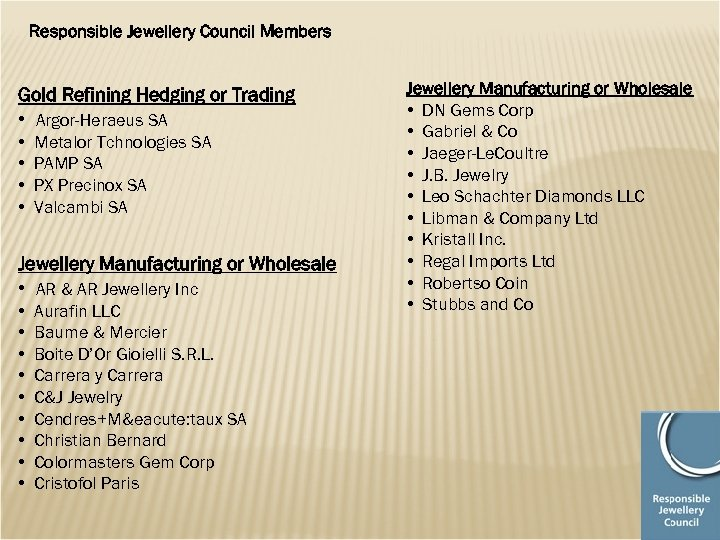 Responsible Jewellery Council Members Gold Refining Hedging or Trading • Argor-Heraeus SA • •