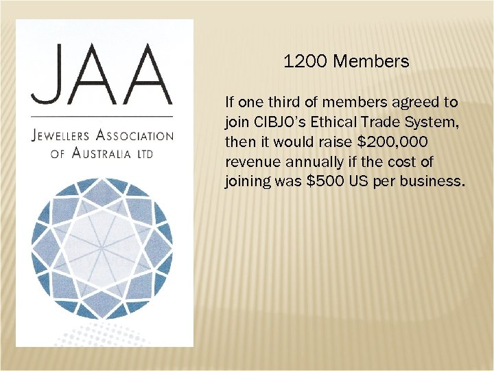 1200 Members If one third of members agreed to join CIBJO's Ethical Trade System,