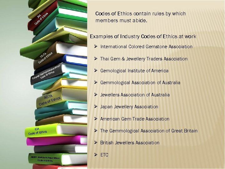 Codes of Ethics contain rules by which members must abide. s A hic JA