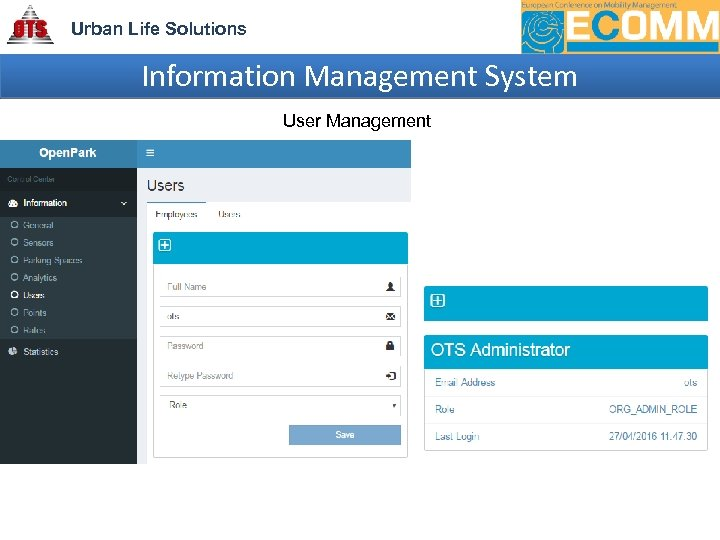 Urban Life Solutions Information Management System User Management