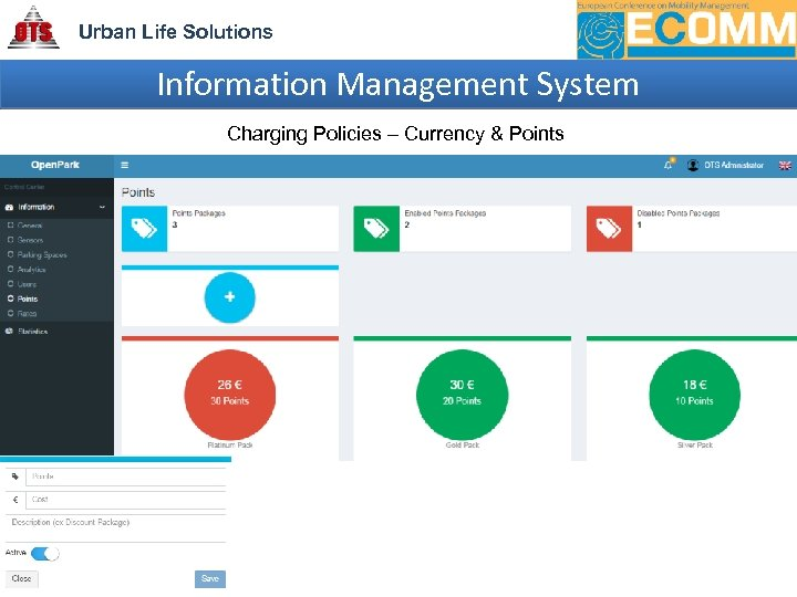 Urban Life Solutions Information Management System Charging Policies – Currency & Points