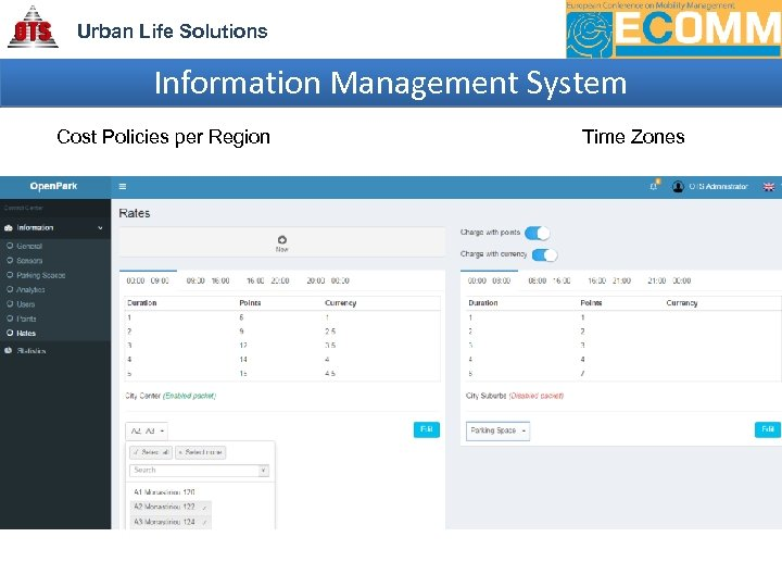 Urban Life Solutions Information Management System Cost Policies per Region Time Zones