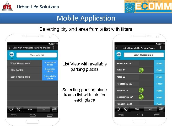 Urban Life Solutions Mobile Application Selecting city and area from a list with filters
