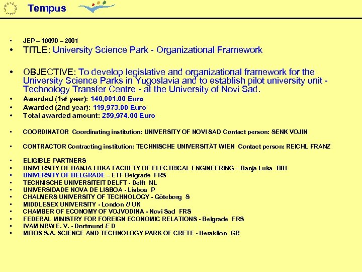 Tempus • JEP – 16090 – 2001 • TITLE: University Science Park - Organizational