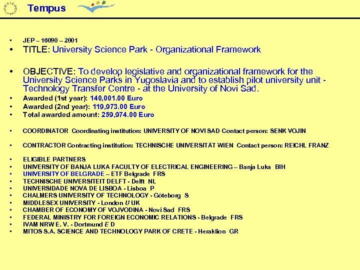 Tempus • JEP – 16090 – 2001 • TITLE: University Science Park - Organizational