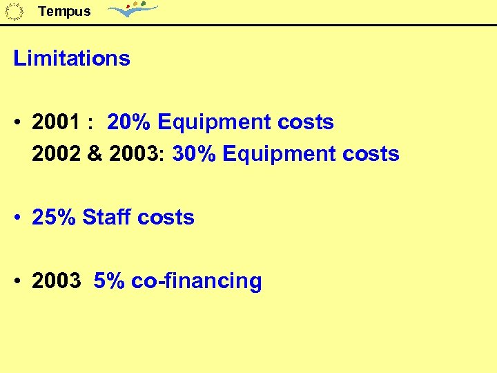 Tempus Limitations • 2001 : 20% Equipment costs 2002 & 2003: 30% Equipment costs
