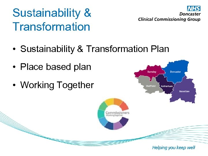 Sustainability & Transformation • Sustainability & Transformation Plan • Place based plan • Working