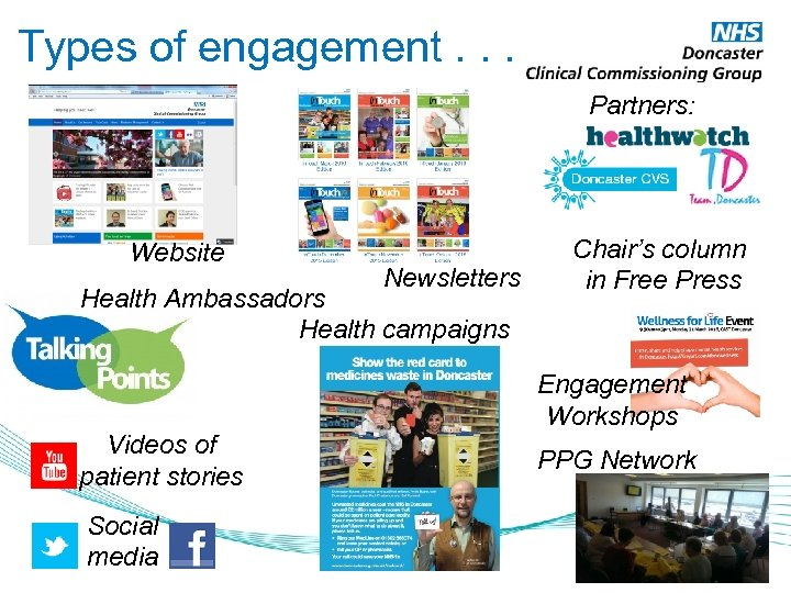 Types of engagement. . . Partners: Website Newsletters Health Ambassadors Health campaigns Videos of