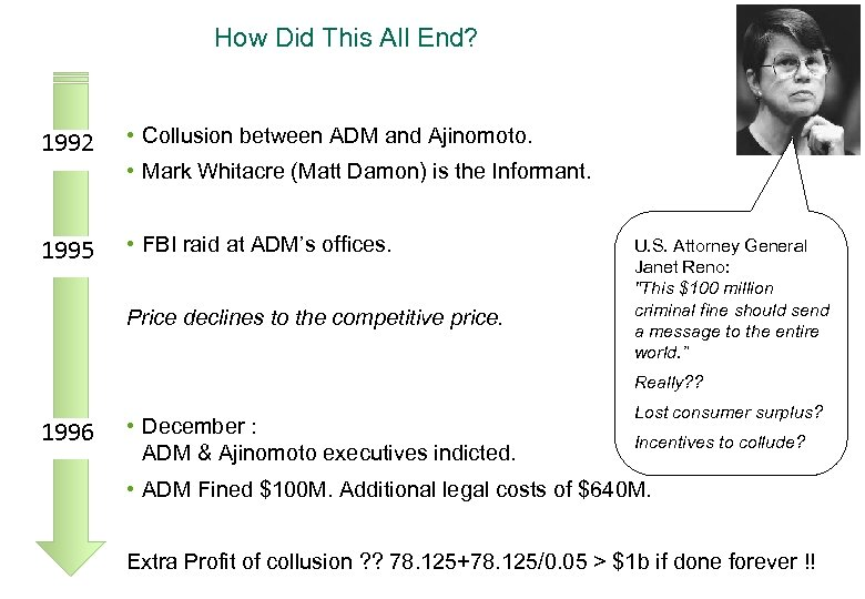 How Did This All End? 1992 • Collusion between ADM and Ajinomoto. • Mark