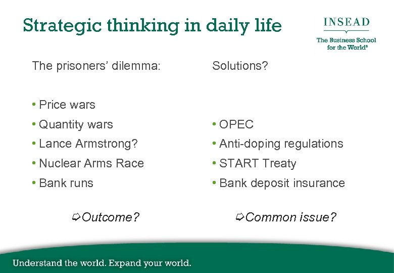 Strategic thinking in daily life The prisoners' dilemma: Solutions? • Price wars • Quantity