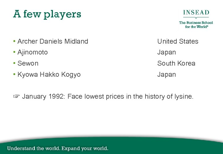 A few players • Archer Daniels Midland United States • Ajinomoto Japan • Sewon