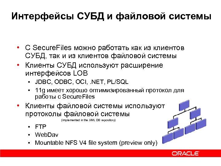 Интерфейсы СУБД и файловой системы • С Secure. Files можно работать как из клиентов