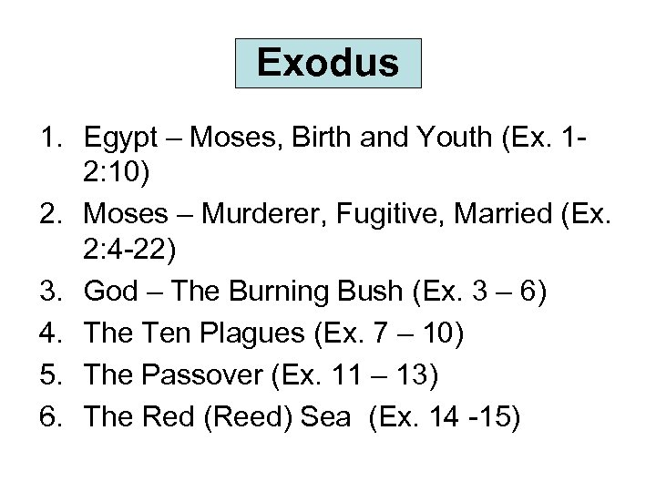 Exodus 1. Egypt – Moses, Birth and Youth (Ex. 12: 10) 2. Moses –