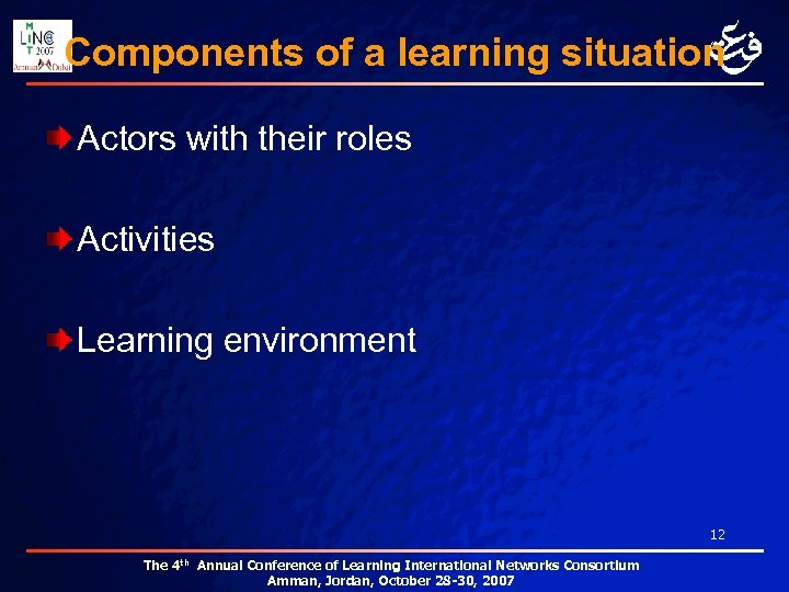 Components of a learning situation Actors with their roles Activities Learning environment 12 The