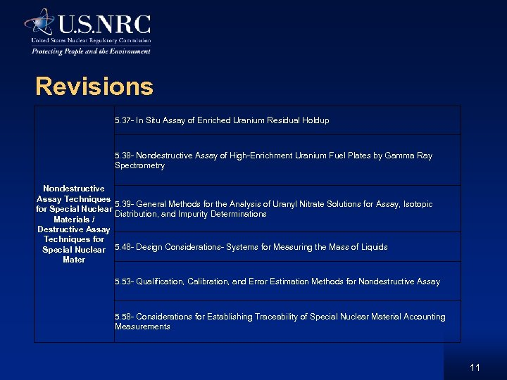 Revisions 5. 37 - In Situ Assay of Enriched Uranium Residual Holdup 5. 38