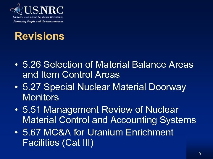 Revisions • 5. 26 Selection of Material Balance Areas and Item Control Areas •