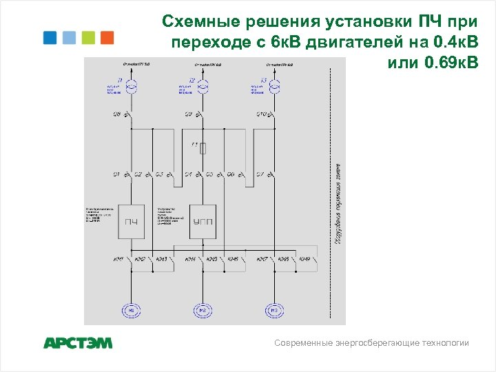 Схемные решения установки ПЧ при переходе с 6 к. В двигателей на 0. 4