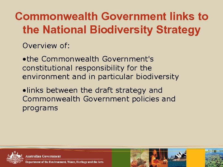 Commonwealth Government links to the National Biodiversity Strategy Overview of: • the Commonwealth Government's