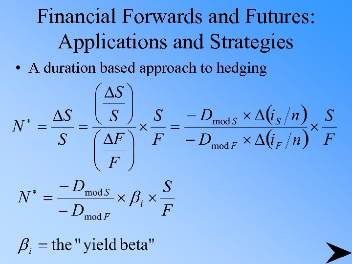 Financial Forwards and Futures: Applications and Strategies • A duration based approach to hedging