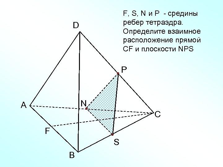 F, S, N и Р - средины ребер тетраэдра. Определите взаимное расположение прямой CF