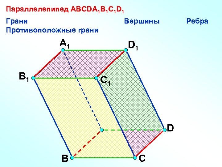 Параллелепипед АВСDA 1 B 1 C 1 D 1 Грани Противоположные грани Вершины A
