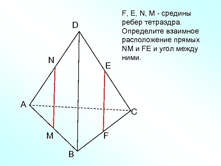 D N E А F, Е, N, M - средины ребер тетраэдра. Определите взаимное