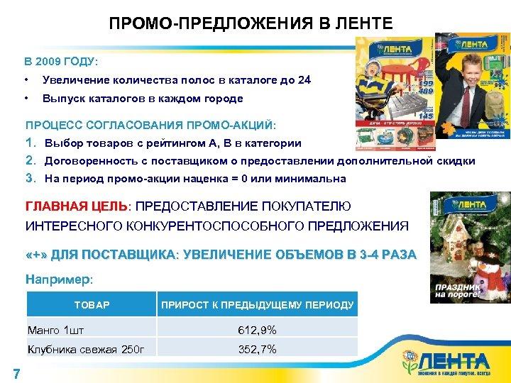 ПРОМО-ПРЕДЛОЖЕНИЯ В ЛЕНТЕ В 2009 ГОДУ: • Увеличение количества полос в каталоге до 24