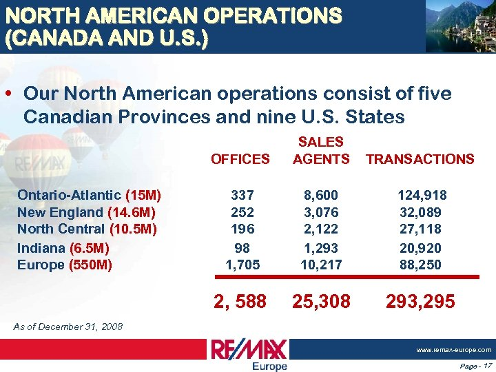 NORTH AMERICAN OPERATIONS (CANADA AND U. S. ) • Our North American operations consist