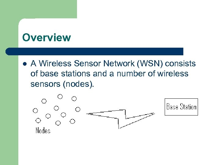 Overview l A Wireless Sensor Network (WSN) consists of base stations and a number