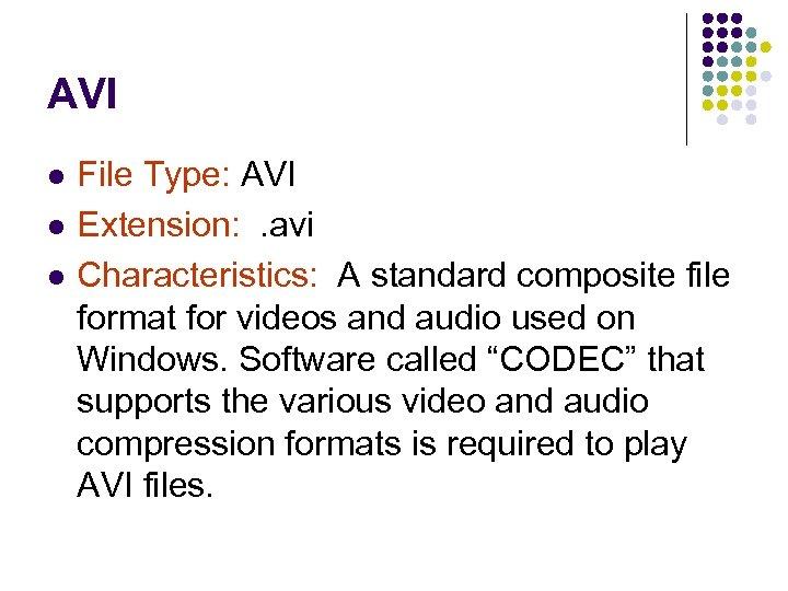 AVI l l l File Type: AVI Extension: . avi Characteristics: A standard composite