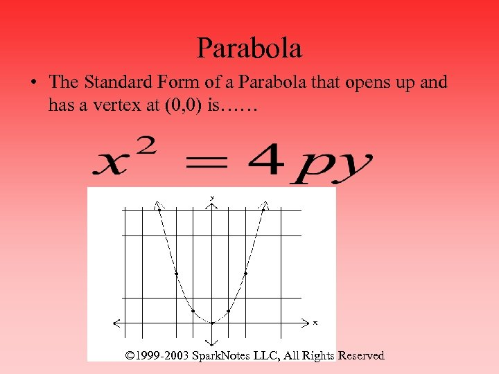 Parabola • The Standard Form of a Parabola that opens up and has a