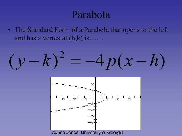 Parabola • The Standard Form of a Parabola that opens to the left and