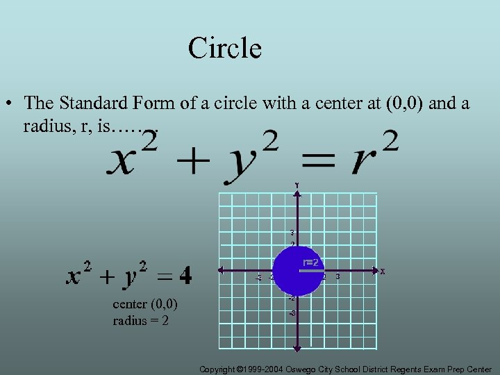 Circle • The Standard Form of a circle with a center at (0, 0)
