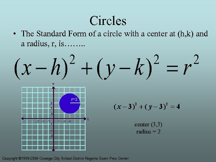 Circles • The Standard Form of a circle with a center at (h, k)