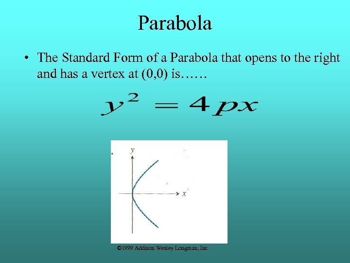 Parabola • The Standard Form of a Parabola that opens to the right and