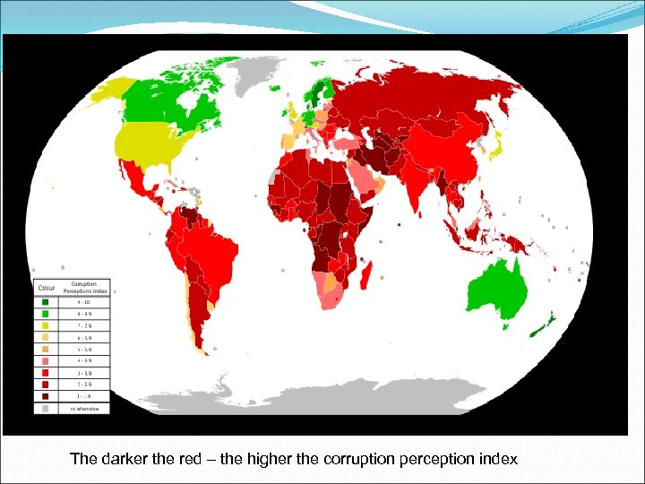 The darker the red – the higher the corruption perception index