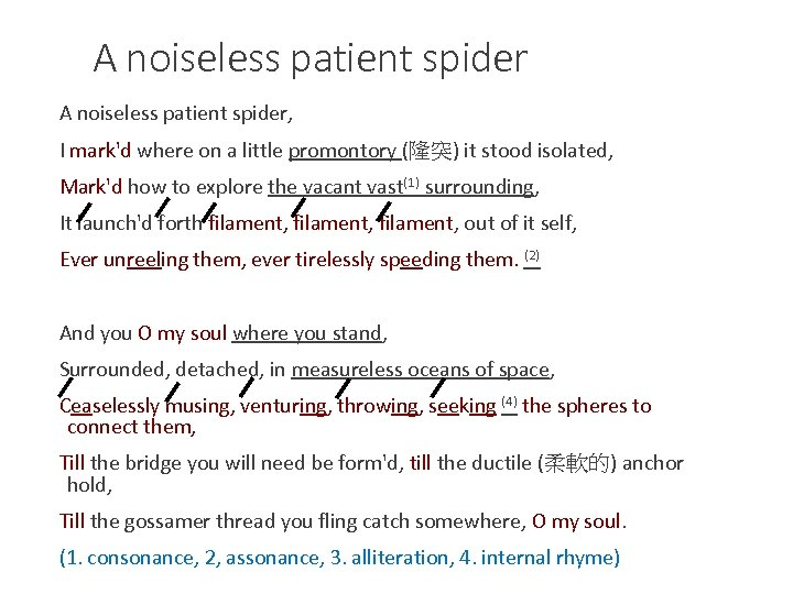 A noiseless patient spider, I mark'd where on a little promontory (隆突) it stood