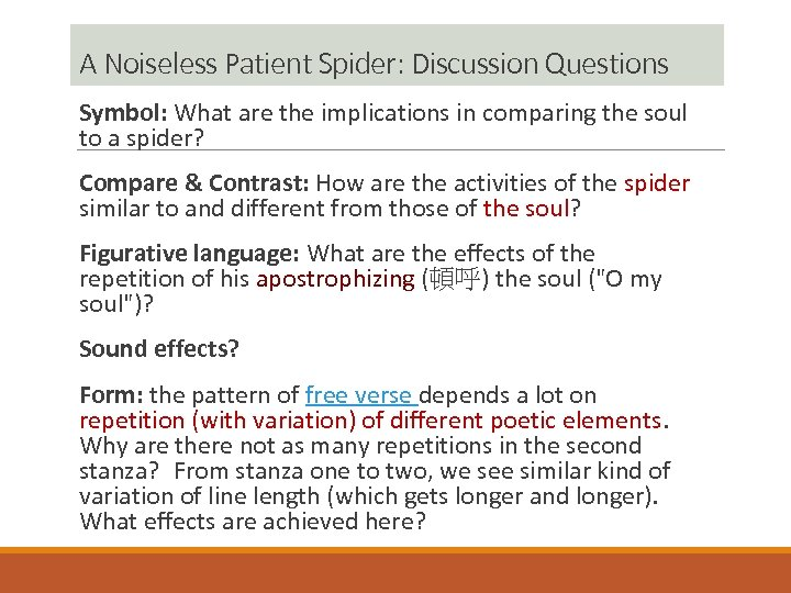 A Noiseless Patient Spider: Discussion Questions Symbol: What are the implications in comparing the