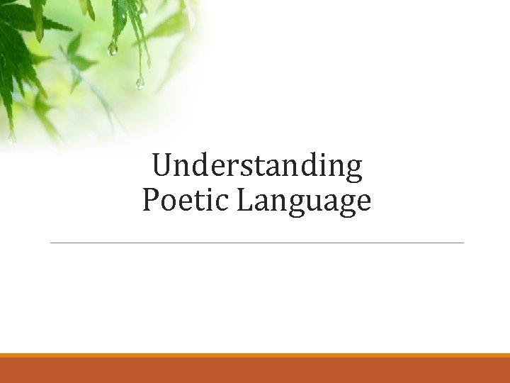 Understanding Poetic Language