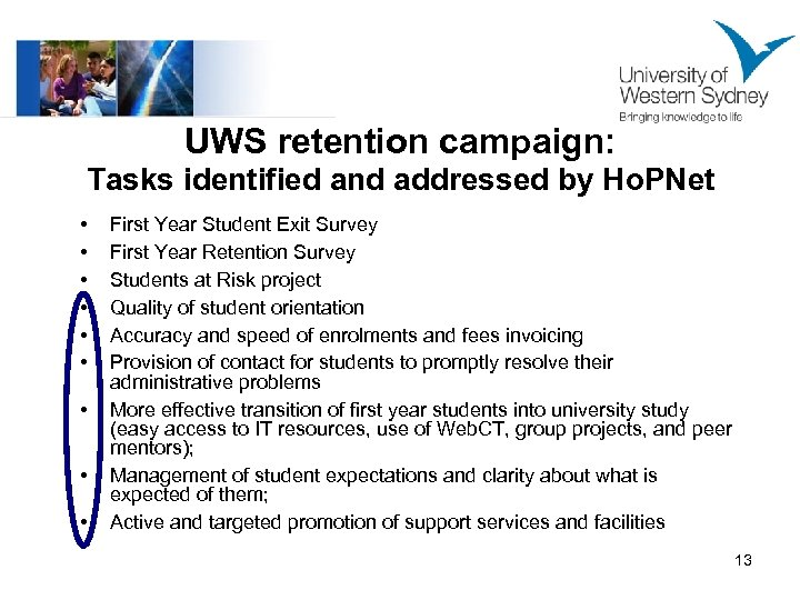 UWS retention campaign: Tasks identified and addressed by Ho. PNet • • • First