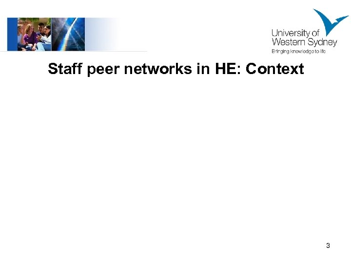 Staff peer networks in HE: Context 3