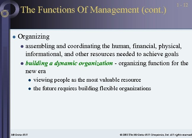 The Functions Of Management (cont. ) l 1 - 12 Organizing assembling and coordinating