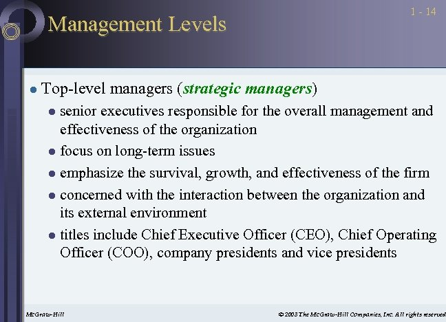 1 - 14 Management Levels l Top-level managers (strategic managers) senior executives responsible for