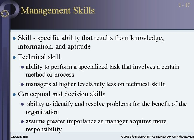 1 - 17 Management Skills Skill - specific ability that results from knowledge, information,