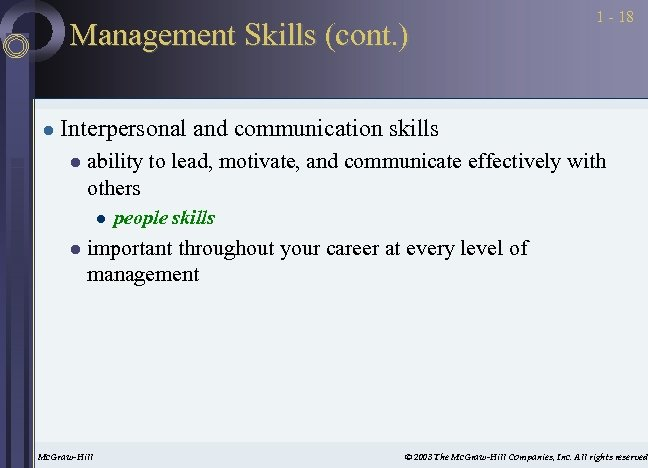 Management Skills (cont. ) l 1 - 18 Interpersonal and communication skills l ability