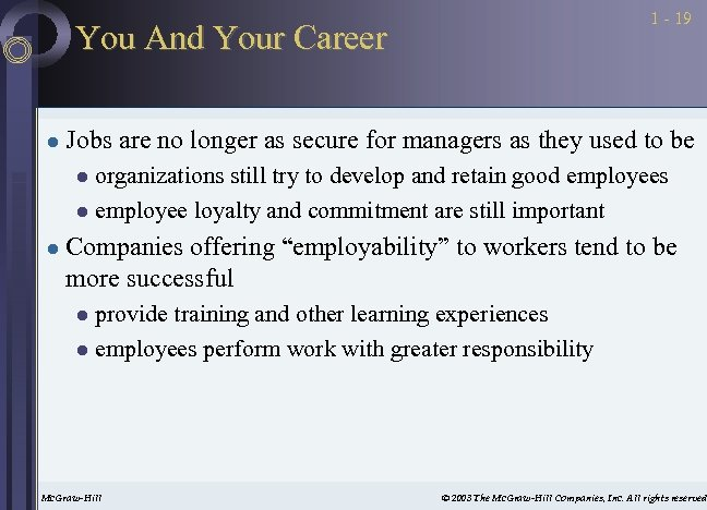 1 - 19 You And Your Career l Jobs are no longer as secure