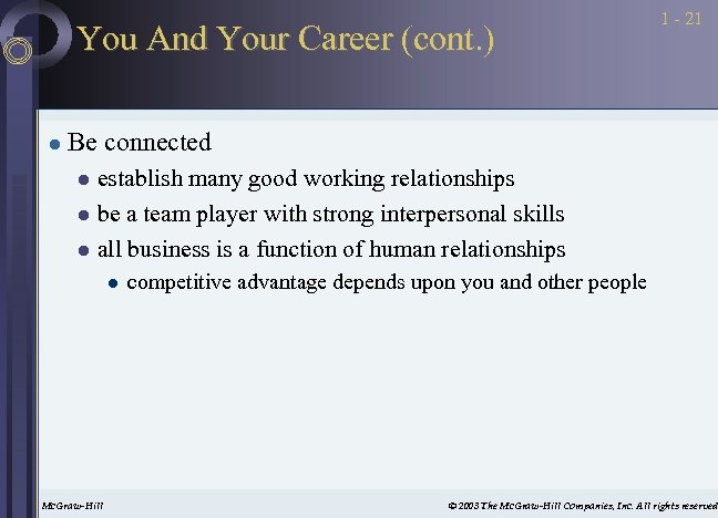 You And Your Career (cont. ) l 1 - 21 Be connected establish many