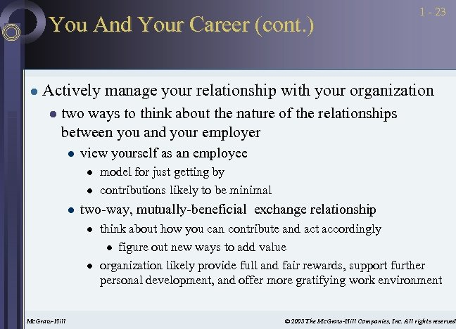 You And Your Career (cont. ) l 1 - 23 Actively manage your relationship